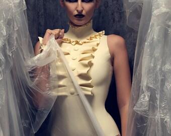 Latex Rubber Felice Bodysuit in White