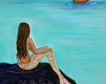 "Mermaid Painting Print Mermaids Art print Giclee Fantasy Pirate Ship Mermaid Theme  ""Pirate Farewell"" Leslie Allen Fine Art"