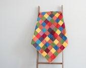 ON SALE Patchwork Throw Quilt, Lap Quilt, Kids Blanket, Baby Blanket - Modern Multicolor Squares Design