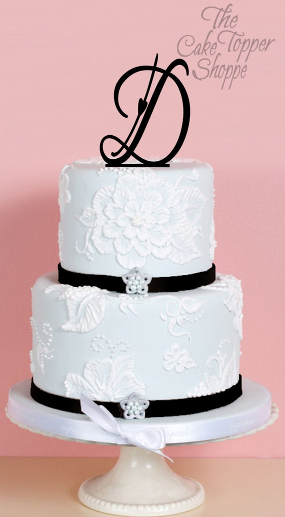 Wedding Cake Toppers Letters Black : Wedding Cake Topper Monogram Cake Topper Letter Cake