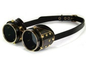 STEAMPUNK GOGGLES black leather blackened brass PLATED