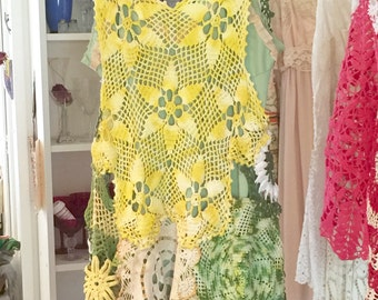 Yellow green doily slip dress vintage day dress medium