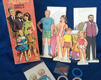Vintage 60's Family Affair Paper Doll Boxed Set Buffy, Jody, Cissy, Mrs. Beasley, Mr. French & Uncle Bill