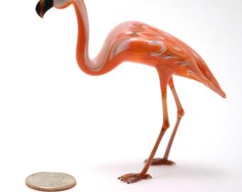 flamingo - lifelike lampworked glass bird figurine made by Wesley Fleming