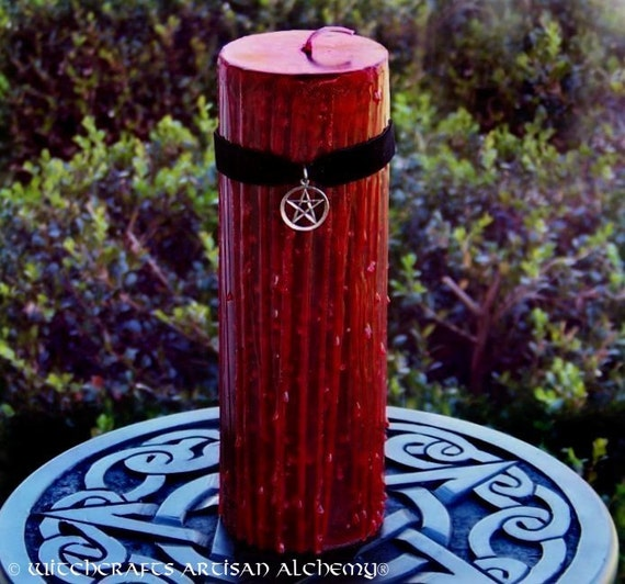 TRUE BLOOD™ Sacred Witchblood Gothic Red Pillar Candle w/ Pentacle on Black Velvet, Dragon's Blood for Power Casting, Blood Moon, Sex Magic