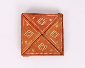 vintage Moroccan leather wallet twisting coin purse pouch gold embossed bag ethnic boho bohemain hippie gypsy