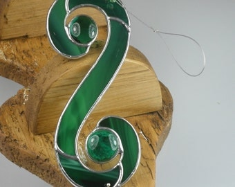 Dark green Stained glass Celtic Double Spiral Suncatcher  & Window Ornament