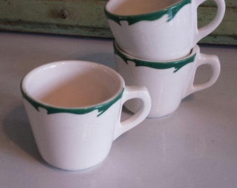 Buffalo China – Diner ~ Green Crested ~ Mug/ Coffee Cup ~ Retro