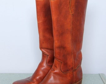durango -- vintage 70s brown leather ranch boots size 7