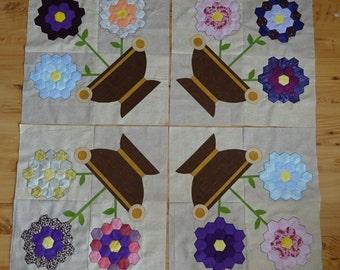 Quilt Blocks 4 - 18 inch pieced background with applique Flower Pot Album Quilt Blocks Handmade