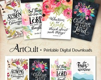 "Printable download BIBLE VERSES TAGS No.11 Scripture Art 2.5""x3.5"" size hang tags digital collage sheet greeting cards ArtCult designs"