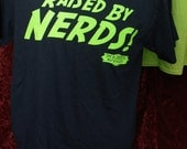 Raised By Nerds Tshirt - the Blibbering Humdingers Wizard Rock band  100% cotton preshrunk Navy Blue adult size