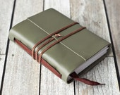 Green Leather Journal with Brown Ribbon Bookmark
