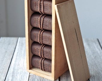 Rustic Leather Journal Box Set, Matching Collection of Books in a Wooden Box