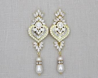 Gold Wedding earrings, Crystal Bridal earrings, Bridal jewelry, Chandelier earrings, Long earrings, Art Deco earrings Crystal earrings, EMMA