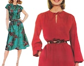 Boho Romantic Dress with Pockets! Vintage ©1981 Simplicity Sewing Pattern 5195, Misses' Jiffy Pullover Dress, Size 10, Uncut with FFs