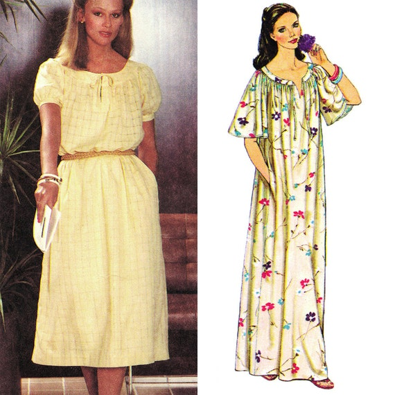 Boho Maxi Dress with Pockets! Vintage 1970s Simplicity Sewing Pattern 8979, Misses' Pullover Dress in Two Lengths, 14-16, Uncut with FFs