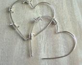 Barbed Wire Earrings, Heart Hoops, Sterling Silver - Tough Love Junior Earrings