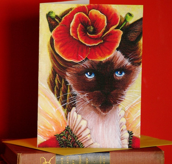 Siamese Cat Card, Poppy Fairy Fantasy Flower Cat Art, 5x7 Blank Greeting Card
