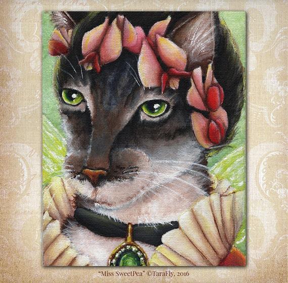 Sweet Pea Cat Fairy, Flower Fantasy Art 8x10 Reproduction Print