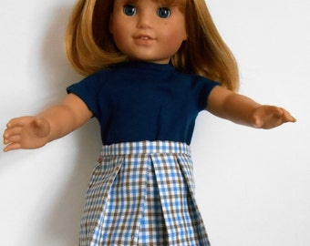 Blue and tan checked pleated skirt and knit navy top fit American Girl