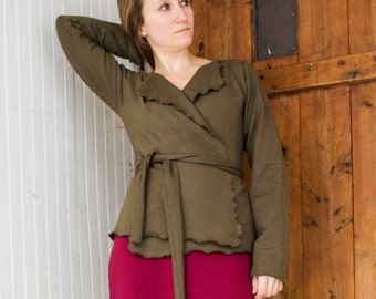 Short Wrap Cardigan - Soy and Organic Cotton French Terry - Made to Order - Many Colors Available