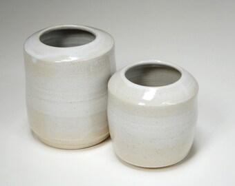 Minimalist jars,pottery containers,white modern jars,clay utensil jar,clay flower vase,pottery decor,minimal kitchen decor,utensil holder