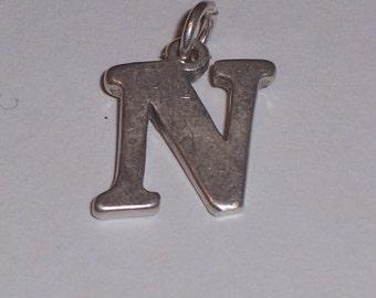 Vintage Sterling Silver Initial N Charm