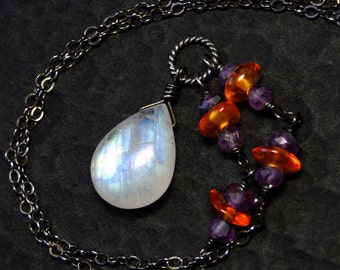 Rainbow Moonstone Necklace, Amethyst, Amber, Oxidized Sterling Silver - Firemoon by CircesHouse on Etsy