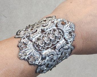 CUT STEEL cuff bracelet antique French open work brass chain belt Buckle Jewelry