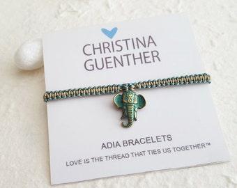ADIA Bracelets Elephant Friendship Bracelet, Adjustable Size, Love is the thread that ties us together, Pura Vida Christina Guenther