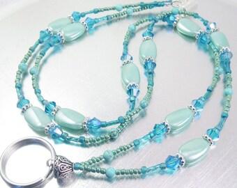 Petite Shades of Turquoise and Blue Crystal Glass Beaded ID Lanyard, Badge Holder, Eyeglass Leash