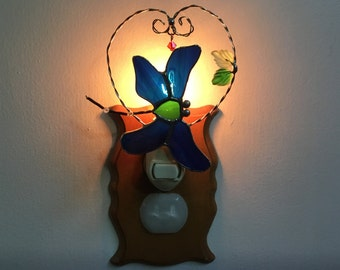 SALE Dragonfly Night Light in Stained Glass