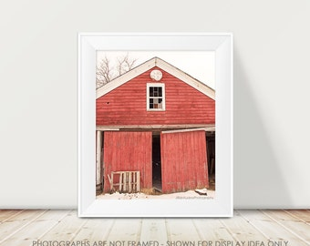 Abandoned Barn Photography, Red Barn Photograph, Rustic Decor, Rural Decor, Cottage Chic, Farmhouse, Red and White, Winter, Snow, Country
