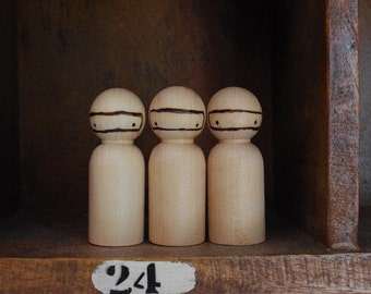 Rustic natural wooden ninja ... ( peg doll ) Three medium size