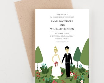 Garden Couple Save The Date, Wedding Announcement, Illustrated Couple, Garden Wedding