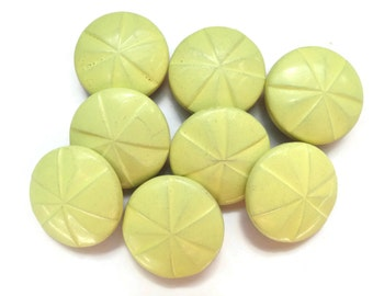 Vintage Wooden Buttons - 6 Antique Yellow for Jewelry Beads Sewing Knitting 3/4 inch 19mm