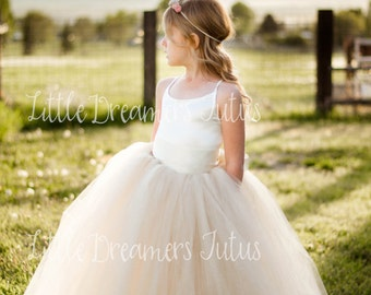 NEW! The Grace Dress in Ivory and Champagne - Flower Girl Tutu Dress