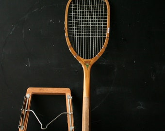 Very Rare Oval Wood Tennis Racket Special Darsonval With Wood and Metal Spring Cover Antique From Nowvintage on Etsy