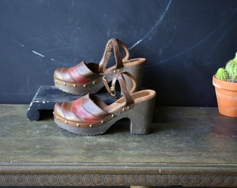 Platform Leather Clog Sandals Bohemian Style With Brass Tacks Size 7 Vintage From Nowvintage on Etsy And Nowvintagefinds