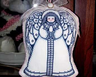 Christmas Ornament, Cross Stitch Angel, Blue Angel, Holiday Decor, Guardian Angel, Pink and Blue, Child's Room Decor, Tree Decoration