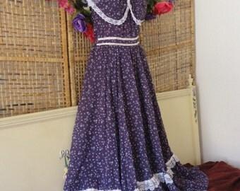 Vintage Gunne Sax Sheer Romantic Ruffle Neckline Full Maxi Dress Purple Floral Sz 4-6 Small