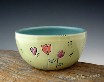 Pottery Bowl in Light Lime with Flowers and Hearts - by DirtKicker Pottery