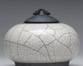 Jar,white Raku ceramic Jar, pottery, home decor,handmade jar,art pottery smalll urn