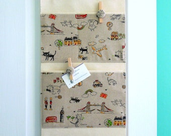 Wall or Door Hanging Organizer in a London Cat Design