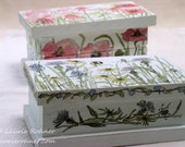 Hand Painted Keepsake Box Hinged Wildflowers Farmhouse Style Home Decor Garden Flowers