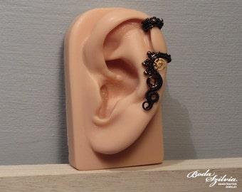 TIME KEEPER cartilage ear cuff - STEAMPUNK ear cuff - bronze and black cartilage ear cuff, no piercing ear cuff