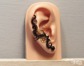 TIME KEEPER ear cuff - STEAMPUNK bronze and black ear cuff, no piercing ear cuff, steampunk jewelry, wire wrapped earcuff