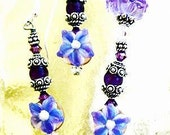 Amethyst Floral Earring Set, Free Shipping