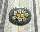 Vintage Blue and White Micro Mosaic Pin Silvertone Metal